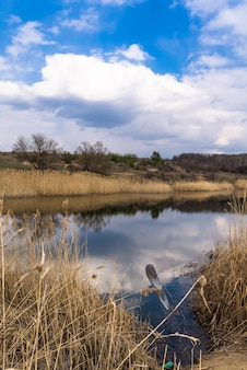 Panorama of the river. wide channel, blue sky.