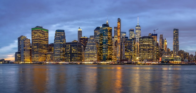 Panorama scene of new york cityscape