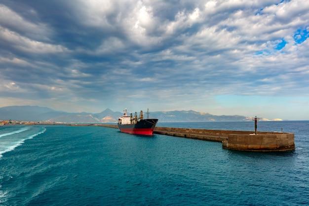 Panorama of sea port, heraklion, crete, greece