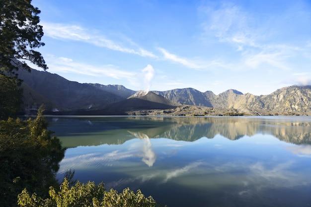Panorama of segara anak on mount rinjani crater lake