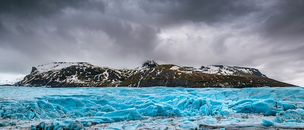 Panorama of skaftafell glacier, vatnajokull national park in iceland.