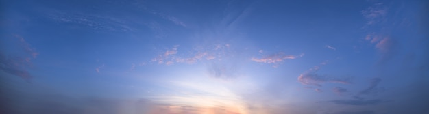 Panorama sky  and sun in the evening
