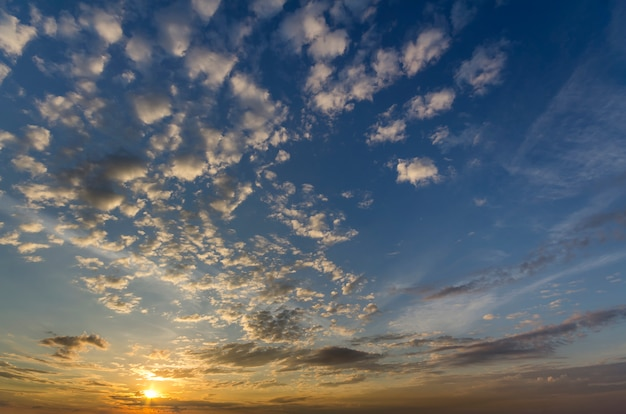 Panorama of sky at sunrise or sunset. beautiful view of dark blue clouds