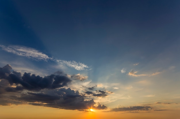 Panorama of sky at sunrise or sunset.