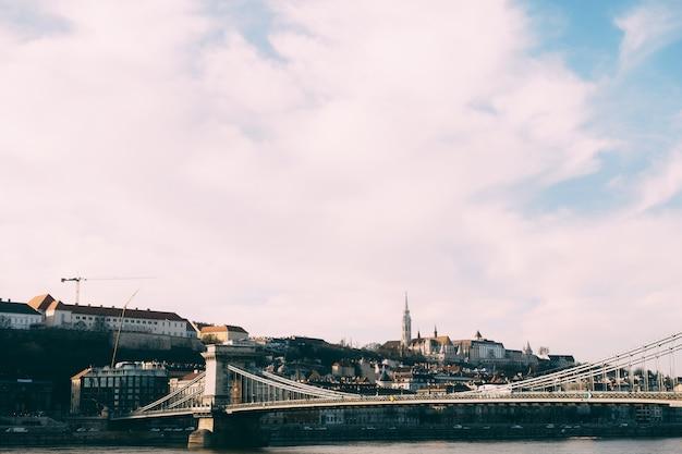 Panorama of the szechenyi chain bridge over the danube in budapest
