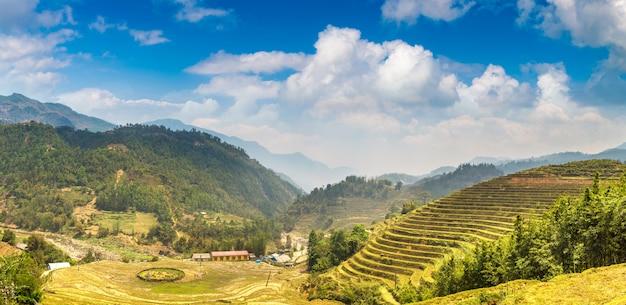 Panorama of terraced rice field in sapa, lao cai, vietnam