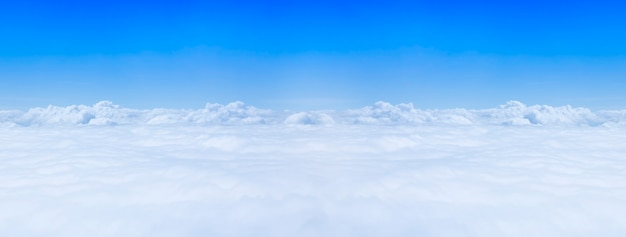 Panorama of top view blue sky and cloud.