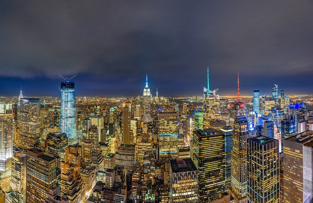 Panorama top view of new york city cityscape in lower manhattan at the twilight time