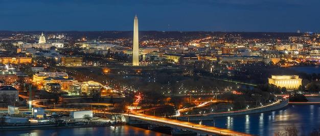 ワシントンdc、アメリカ合衆国議会議事堂、ワシントン記念塔、リンカーン記念館のパノラマトップビューシーン