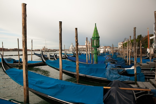 Panorama of venice, italy. grand canal with gondolas.venice postcard