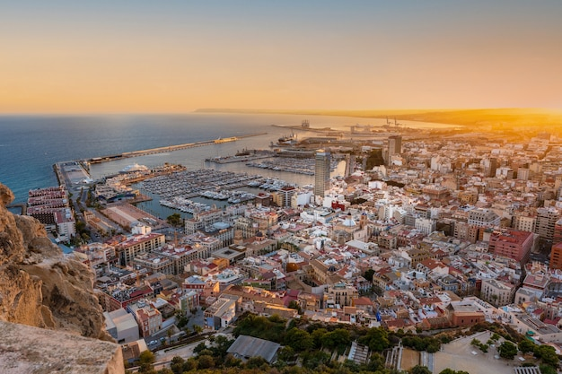 Panorama view of alicante from above. comunidad valenciana, spain