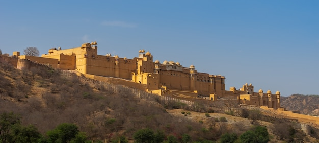 Panorama view of amber fort in jaipur, india.