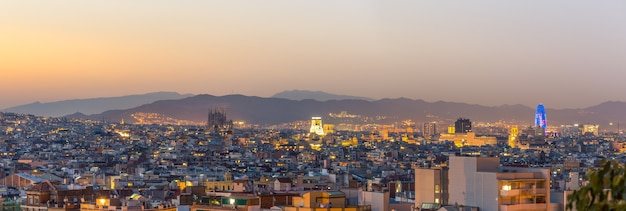 Panorama view of barcelona city