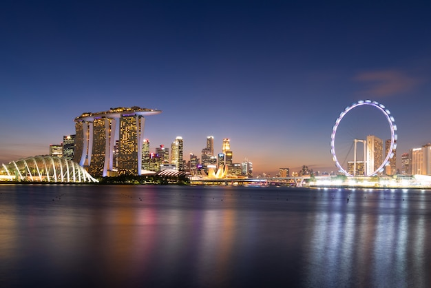 Panorama view of business downtown building area during twilight time at singapore.