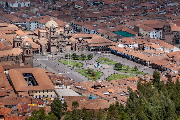Panorama view of cuzco city historical center plaza armas