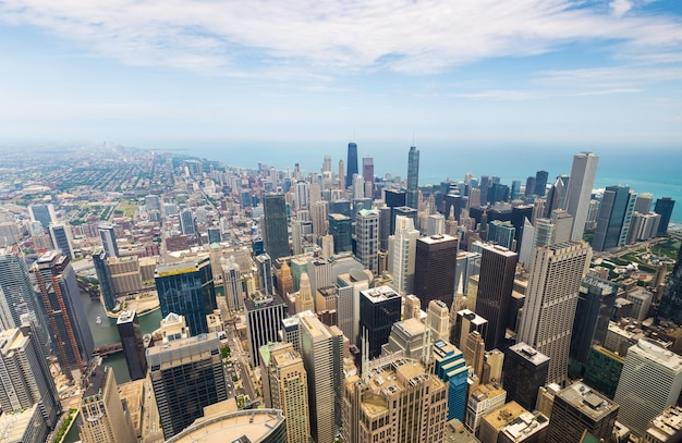 Panorama view of downtown chicago, illinois usa