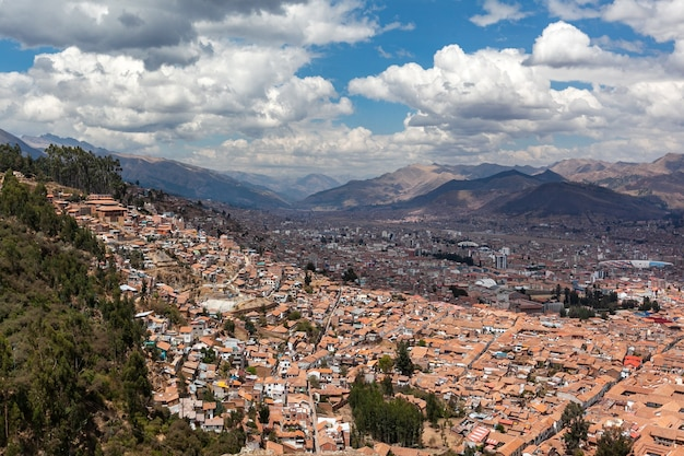 Panorama view historical center cusco peru andes mountains