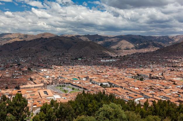 Panorama view historical center cusco peru