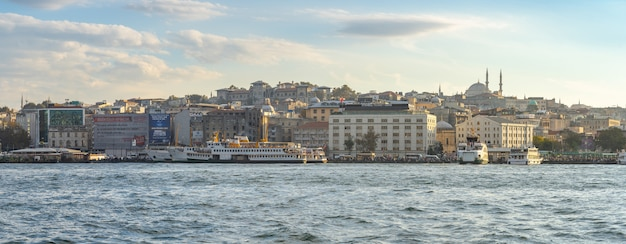 Panorama view of istanbul city skyline in istanbul city, turkey