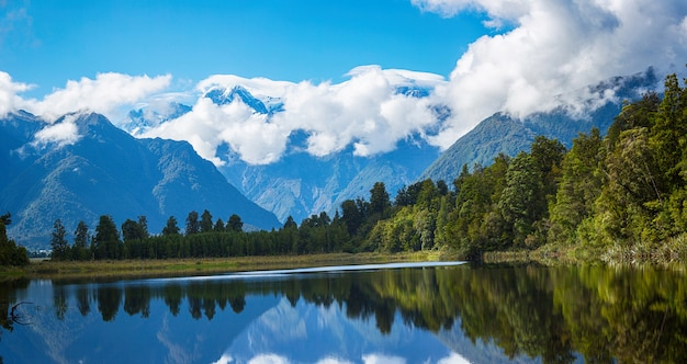 Panorama view of lake matheson in south island new zealand