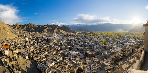 Panorama view of leh city in autumn and mountain in background with sunlight