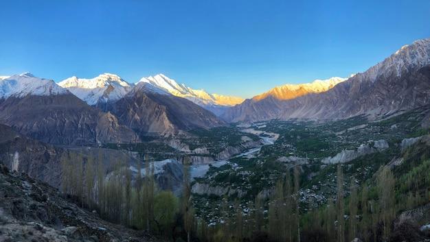 Panorama view mountain of gupis along hindu kush mountains range , northern of pakistan.
