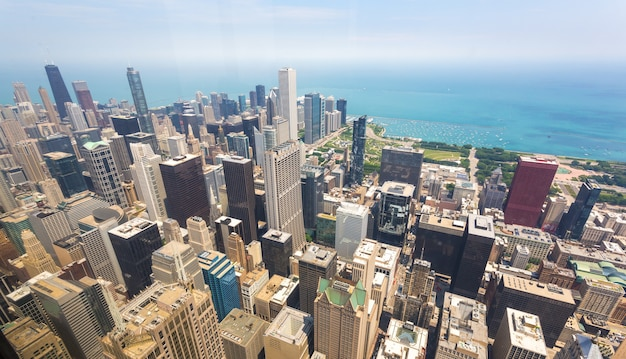 米国イリノイ州シカゴのダウンタウンのパノラマビュー