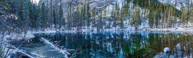 冬季のグラスイー湖のパノラマビュー。鏡のような湖面の反射。カナダ、アルバータ州キャンモア。