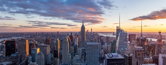 Panorama view of  New York city skyline and skyscraper at sunset
