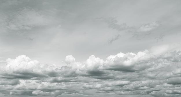 흐린 하늘의 파노라마 보기 장마철 비가 오기 전의 극적인 회색 하늘과 흰 구름
