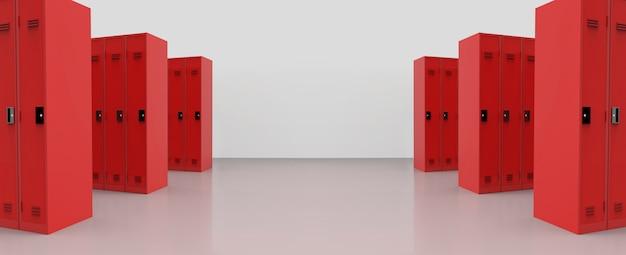 Панорамный вид красных металлических шкафчиков на фоне пола.