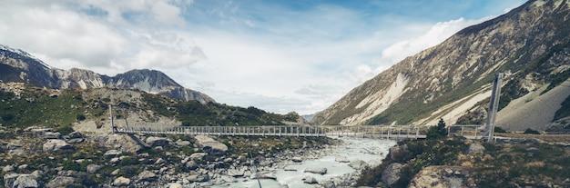 川と山の風景のパノラマビュー