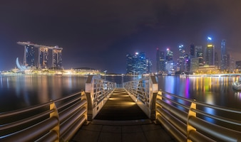 Panorama view of Singapore Marina Bay at night
