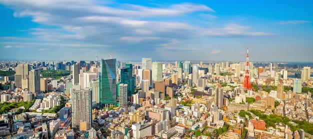 Панорамный вид на городской пейзаж токио и здание токийской башни в японии на закате