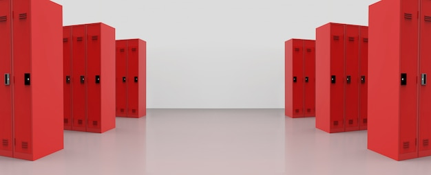 Panorama view of red metal lockers on the floor background.