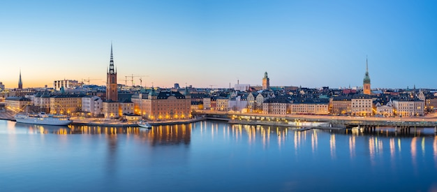Panorama view of stockholm gamla stan skyline at night in stockholm city, sweden