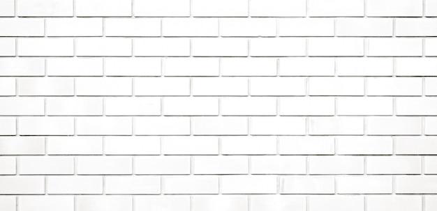 Panorama white brick wall texture and background