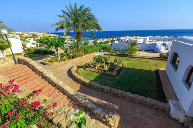 Panorama of white city at a tropical holiday resort egypt