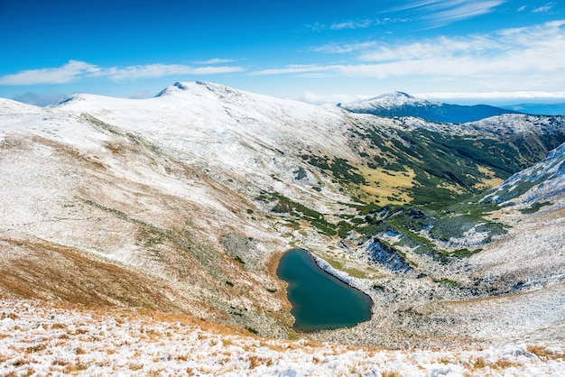 Panorama of white mountains with blue lake
