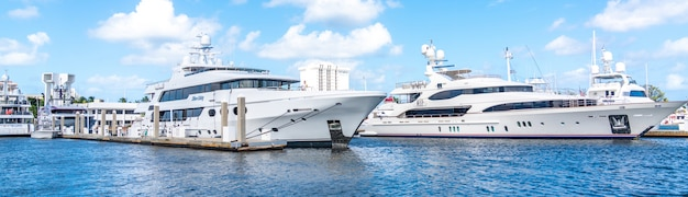 Panorama of yachts docked in marina in fort lauderdale, florida