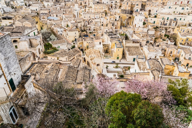 Panoramas of the ancient medieval city of matera, in italy.