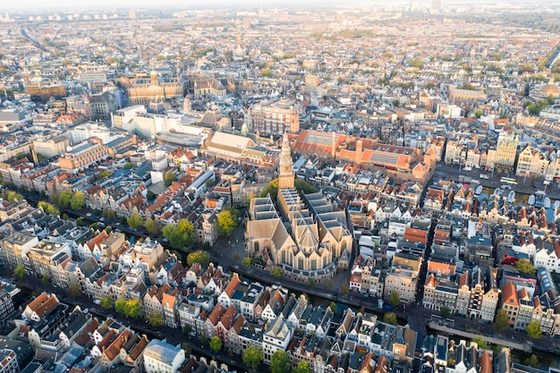 Panoramic aerial view of amsterdam, netherlands. view over historic part of amsterdam