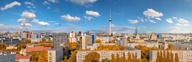 Panoramic aerial view of central berlin on a bright day in autumn