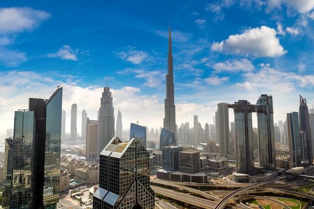 Panoramic aerial view of downtown dubai, united arab emirates
