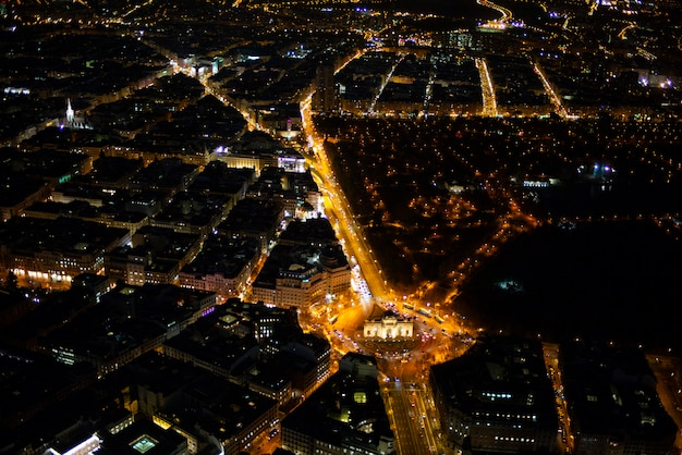 Panoramic aerial view of madrid at night, metropolis building lights, capital of spain, europe