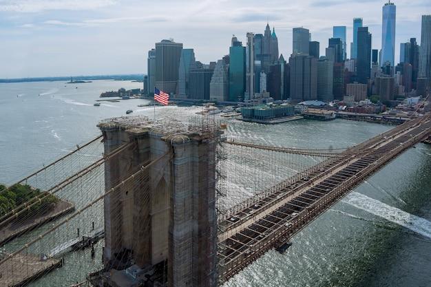 탁 트인 공중 전망 맨해튼 아름다운 도시 경관 브루클린 다리 파노라마 뉴욕시, 미국