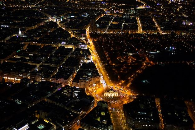 Панорамный вид с воздуха мадрида в ночное время, метрополис здание огни, столица испании, европа