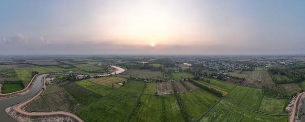 タイの水田のパノラマ空撮。
