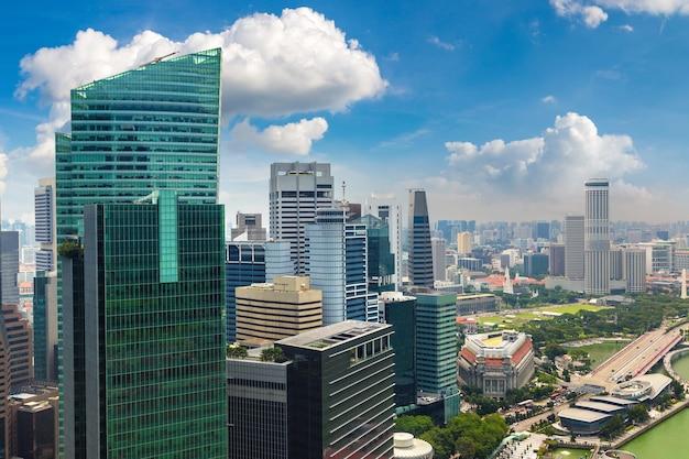 シンガポールのダウンタウンのパノラマ空撮