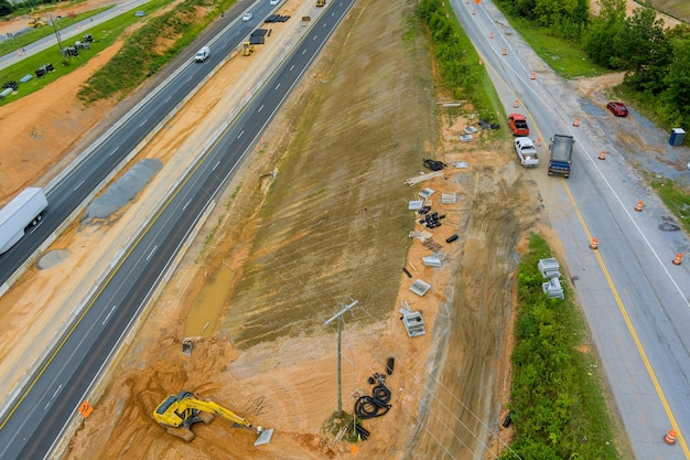 Panoramic aerial view of reconstruction add new line in interchange freeway 85 highway